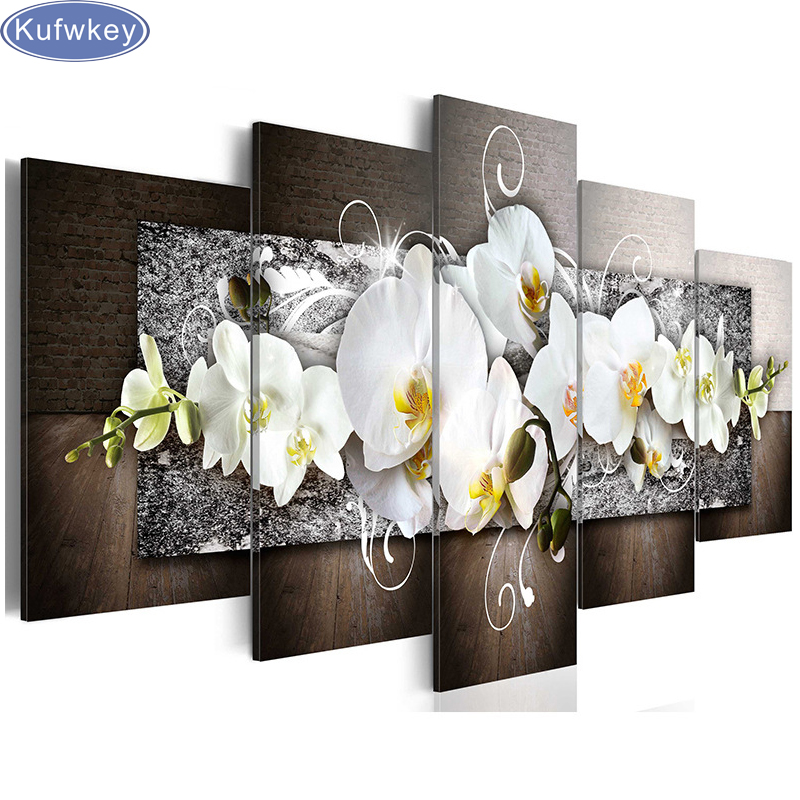 5 Pieces 5d Diy,Diamond Painting Orchid Full Square Diamond Embroidery,3d Cross-Stitch Pictures Diamond Mosaic,home Decoration