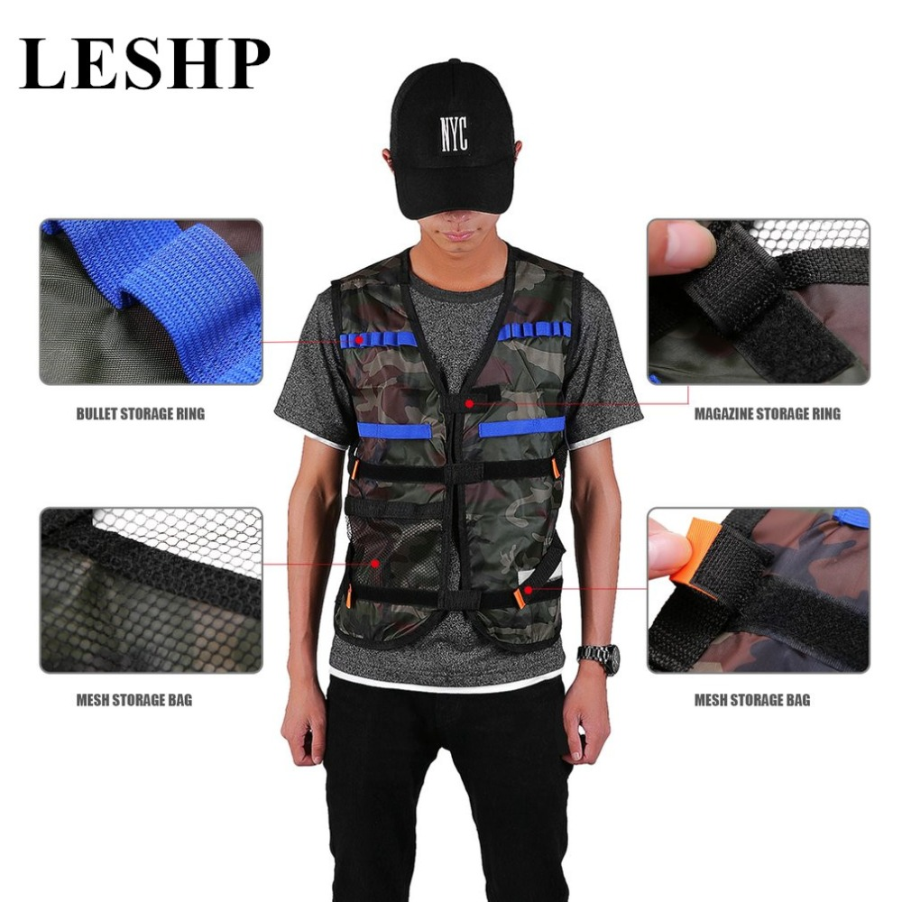 LESHP Outdoor Tactical hunting Vest Kit For Nerf N-strike Elite Games Adjustable tactical vest with storage pockets оружие игрушечное hasbro hasbro бластер nerf n strike mega rotofury