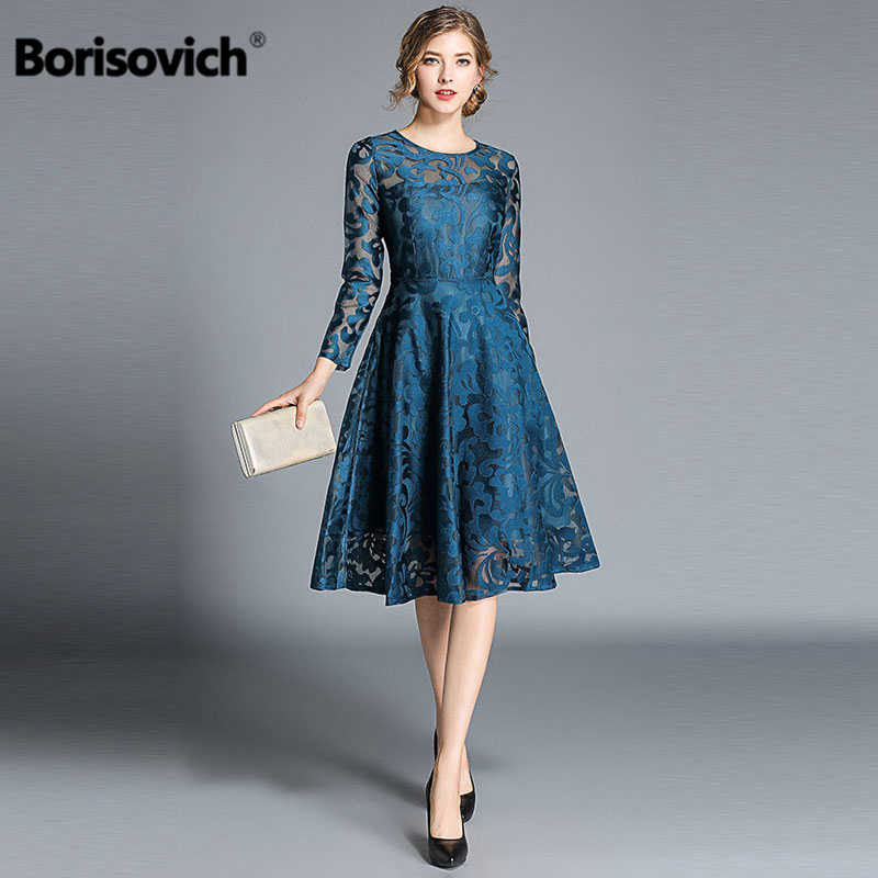 96b6022ff82 Detail Feedback Questions about Borisovich Luxury Elegant Party Dress New  Brand 2018 Autumn Fashion A line Big Swing Hollow Out Lace Women Casual  Dresses ...