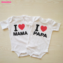 Culbutomind Summer Short Sleeve Organic Cotton Baby Romper I Love Mama Papa Unisex Twin Clothes Set Twins Baby Clothes
