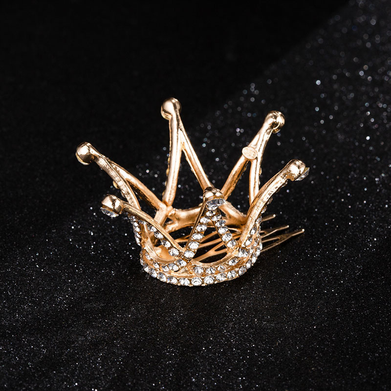 Mini Round Crystal Rhinestone Tiaras and Crowns Pageant Prom Princess Comb Tiara Crown Wedding Hair Accessories for Women (1)