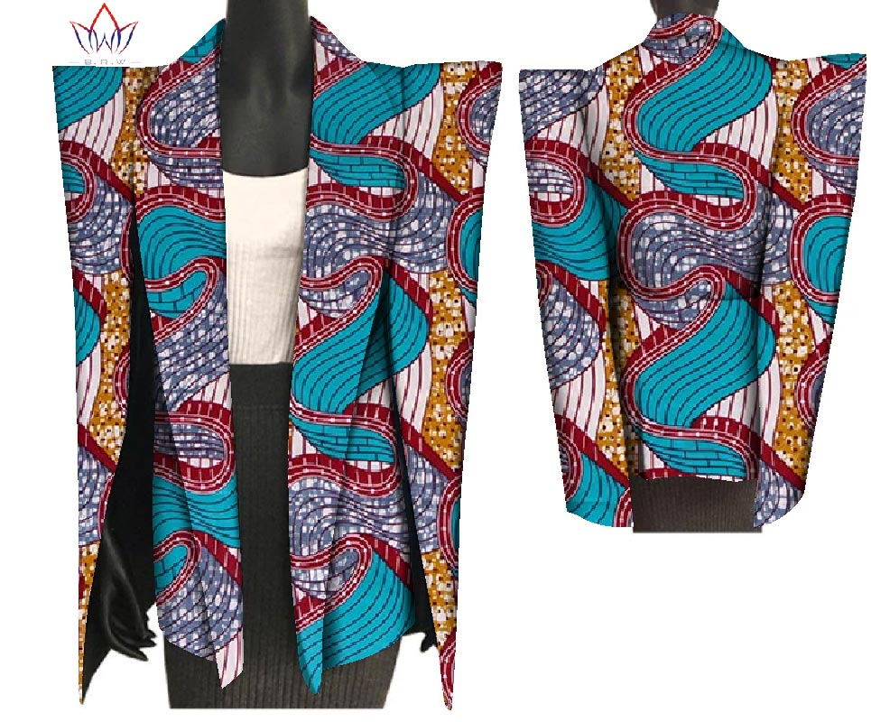 2018 New African Print Wax Coat Dashiki Blazer Plus Size 6xl Africa Style Clothing for Women Crop Top Casual Coat WY3199