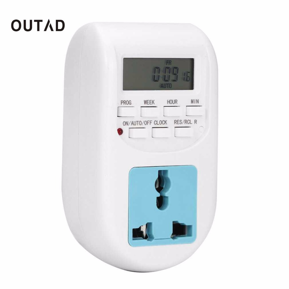 OUTAD EU Plug New Energy Saving Timer Programmable Electronic Timer Socket Digital Timer Household Appliances For Home Devices