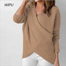 b08da99e433ab Women Front Cross Irregular Casual Loose Knit Sweater Autumn Winter Pullover  Sweater Long Sleeve Knitting Sweater Plus size S-XL