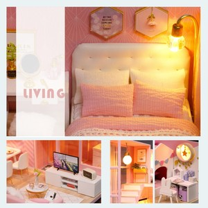 Image 5 - DIY Doll House Wooden doll Houses Miniature dollhouse Furniture Kit Toys Casa for children Christmas Gift  L026