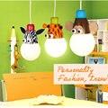 Novelty led branco lâmpada luzes de teto dos desenhos animados do macaco animal zebra girafa crianças caçoa o quarto lâmpadas sala de pendurar luz pendente