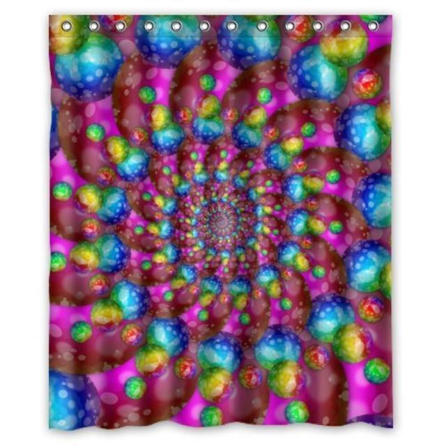 Hippie Fashion Tie Dye Rainbow Spirals Fractal Custom Shower Curtain Pattern Waterproof For Bathroom