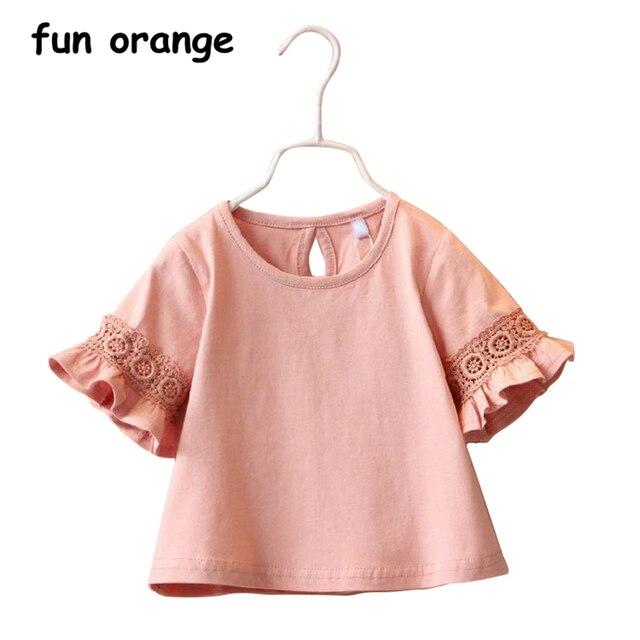 Забавная оранжевая летняя хлопковая рубашка для малышей, милая детская Кружевная футболка принцессы с коротким рукавом для девочек, блузка, топы для девочек, одежда, От 2 до 6 лет