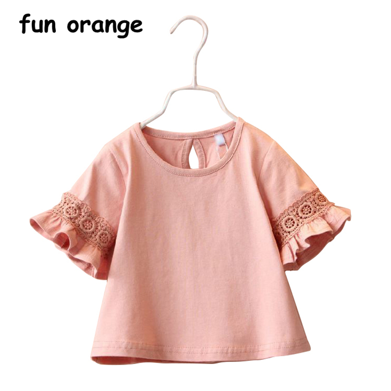 Fun Orange Summer Cotton Shirt for Toddler Cute Baby Girls Princess Lace Kids Half Sleeve T shirt Blouse Girls Tops Clothes 2-6T