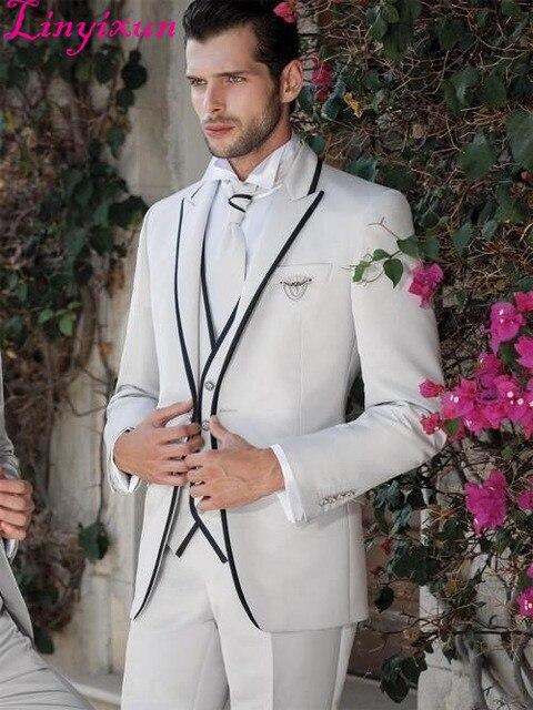 Linyixun 2016 Hot Selling Beige Men's Suit Groomsmen Beach Groom Wedding Suits For Men Formal Tuxedo Bridegroom