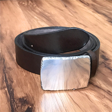 Luxury Metal Belt Buckle Thick Genuine Leather Men