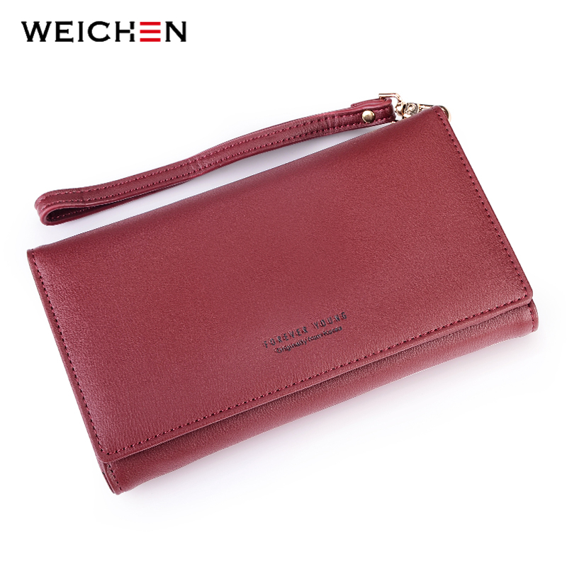 WEICHEN Large Capacity Women Clutch Purse Card Holder Female Wallet Wasitband Bags Money Woman Purses Ladies Long Wallets vintage women short leather wallets stylish wallet coin card pocket holder wallet female purses money clip ladies purse 7n01 18