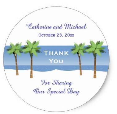 1.5inch Tropical Island Palm Trees Beach Wedding Thank You Classic Round Sticker