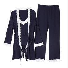 Одежда для месяца, новое однотонное кружевное платье для беременных, Хлопковое трикотажное, из трех предметов, послеродовое, для беременных женщин, домашняя пижама