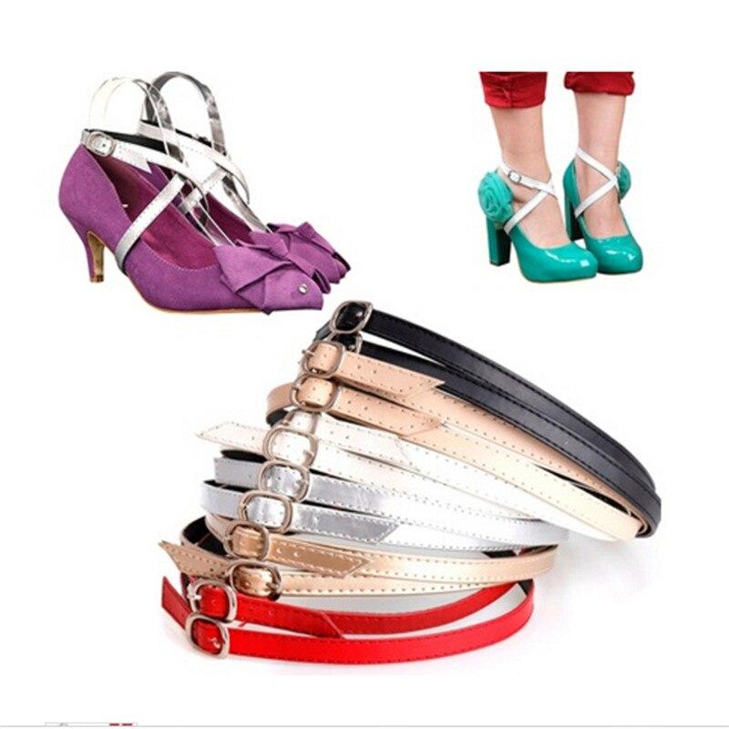1Pair Detachable Shoe Laces For Charm Women Lady Creative Design Convenient PU Leather Shoes Belt Ankle Shoe Tie