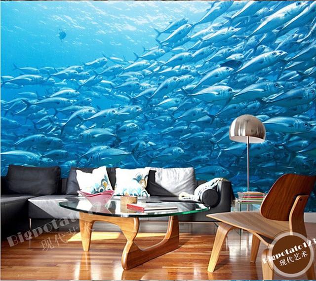 Kustom Mural Mimpi Indah Biru Laut Dalam Air Swordfish Fotografi Ruang Tamu Sofa
