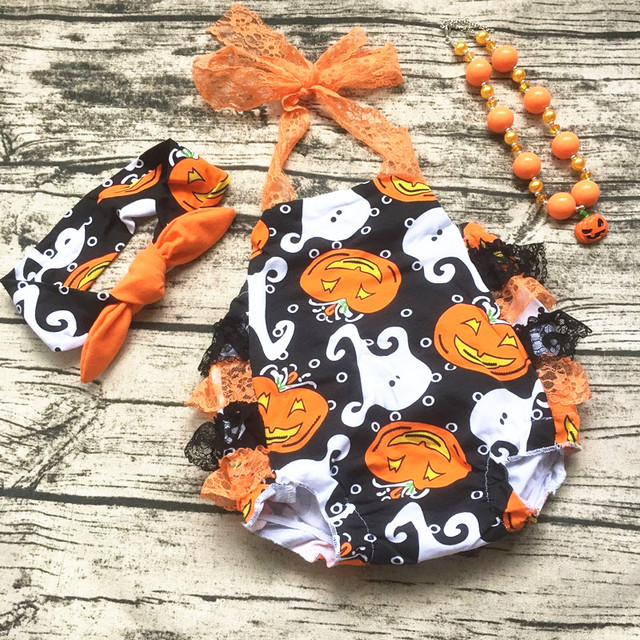 2017 baby girls lace halloween romper baby kids boutique baby girl halloween pumpkin outfits sets with