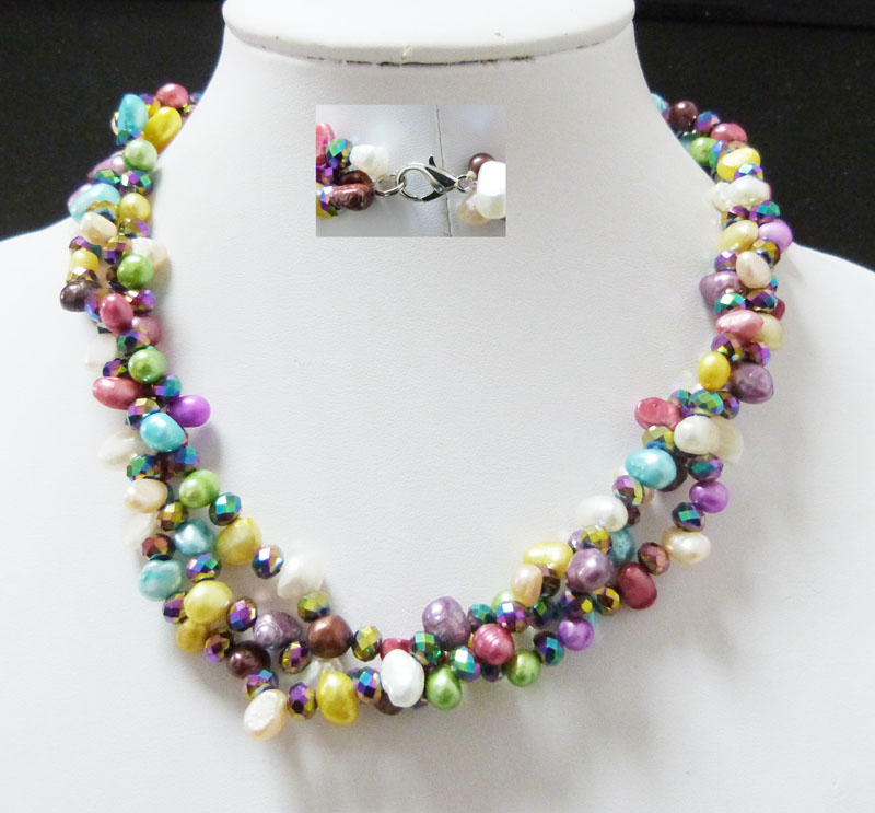 FH-137ROMANTIC 100%   fresh water pearl necklace