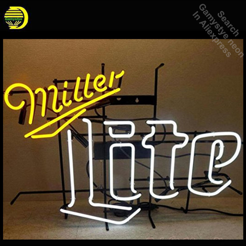 Miller Lite Neon Sign Restaurant neon bulb Sign neon lights Sign Custom glass Tube Handcraft Iconic Sign Display light up four colors atari neon sign neon bulb sign glass tube neon light recreation club pub iconic sign advertise arcade lamp wholesale