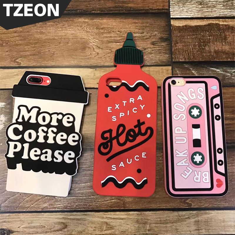 3D Funny Sriracha Bottle Sauce Strawberry Canned Coffee Tape Boys Tears Cute Unique Phone Cover Case For IPhone X 8 7 6s 6 Plus