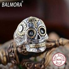 Balmora горячие продажа 100% реального стерлингового серебра 925 пробы старинные кольца Мужчины Женщины Любителей Моды Cool Ювелирные Изделия Черепа Кольцо Bijoux SY20540