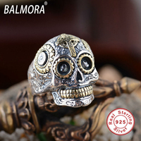 100 Real Pure 925 Sterling Silver Jewelry Letters Ring Silver Retro Handsome Skeleton Skull Rings Best