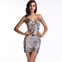 Temperament Commuter Dress Sexy Sling Halter Sequin Solid Color Mini Skirt Mesh Evening Free Shipping