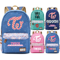 Kpop Yes or Yes Twice One In A Million Flowers Dot Boy Girl School bag Women Bagpack Teenagers Schoolbags Canvas Femme Backpack