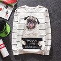 hot sale autumn winter round collar white stripes hip hop long hoodies men streetwear 3d printing animal motifs couples