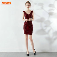 Sumptuous Burgundy Women Cocktail Dresses 2019 Champagne Short Dress Cocktail Scoop Sequined Knee Length Banquet Prom Party Gown