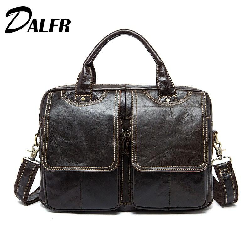 DALFR Genuine Leather Handbags Vintage Bags for Men 17 Inch Male Messenger Bags Cowhide Crossbody Bags Men Famous Brands