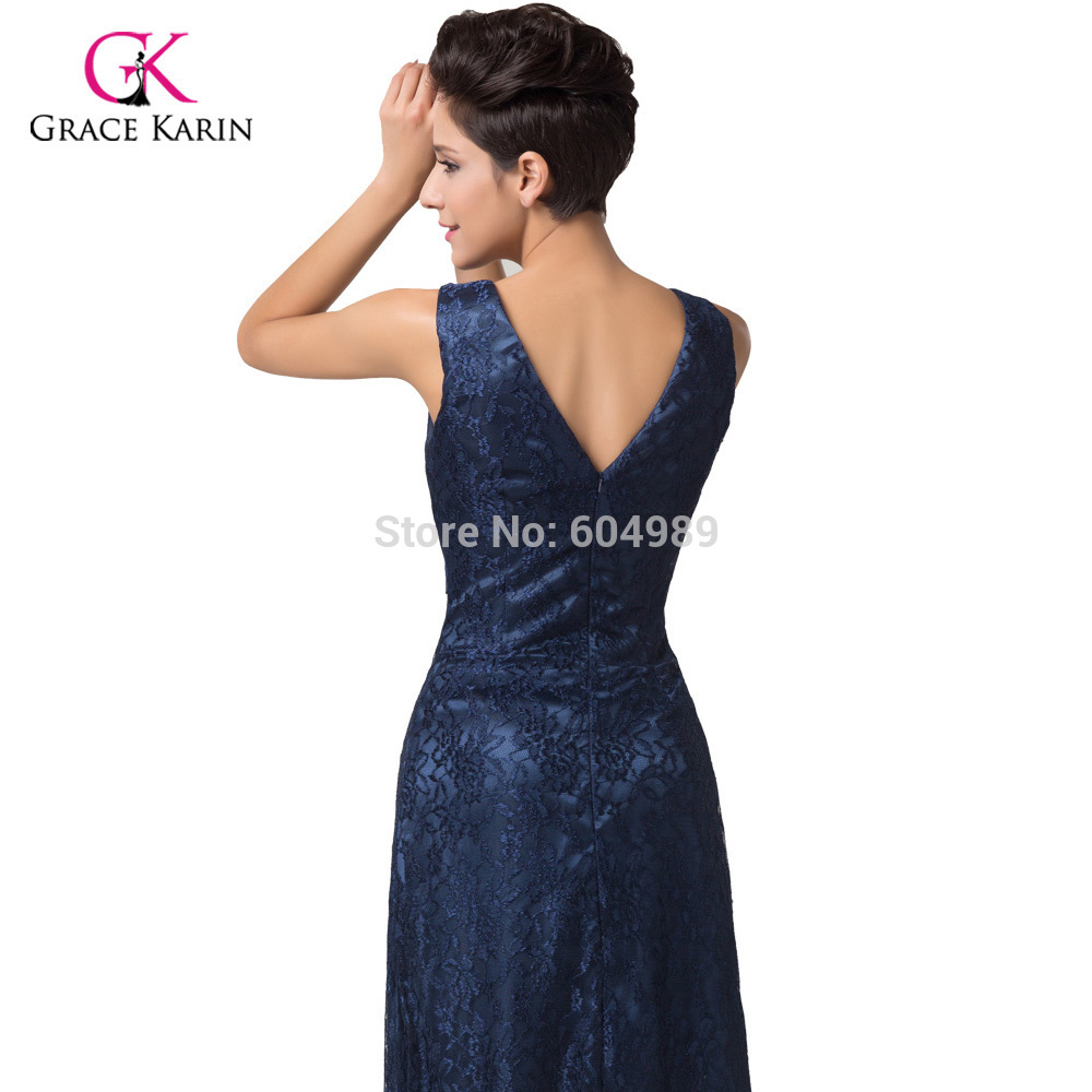 7b234c70f8e9 Grace Karin 2018 V-Neck Navy Blue Lace Evening Dresses women Long Formal  Evening Gowns Mother ...