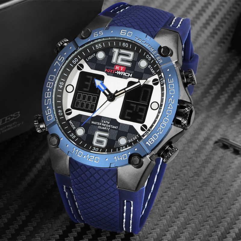 יוקרה מותג שעונים גברים ספורט שעונים LED דיגיטלי גברים צבאי סיליקון בנד קוורץ שעון יד שעון זכר Relogio Masculino
