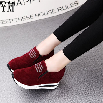 2018 Flock New High Heel Lady Casual black/Red Women Sneakers Leisure Platform Shoes Breathable Height Increasing Shoes 3