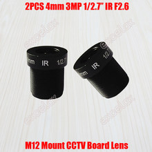 "2 Pcs/lot 3MP 1/2. 7 ""4 Mm F2.6 Fixed Iris IR MTV CCTV Dewan Lensa M12 Mount Antarmuka untuk 720 P 960 P 1080 P Keamanan Analog IP Camera(China)"