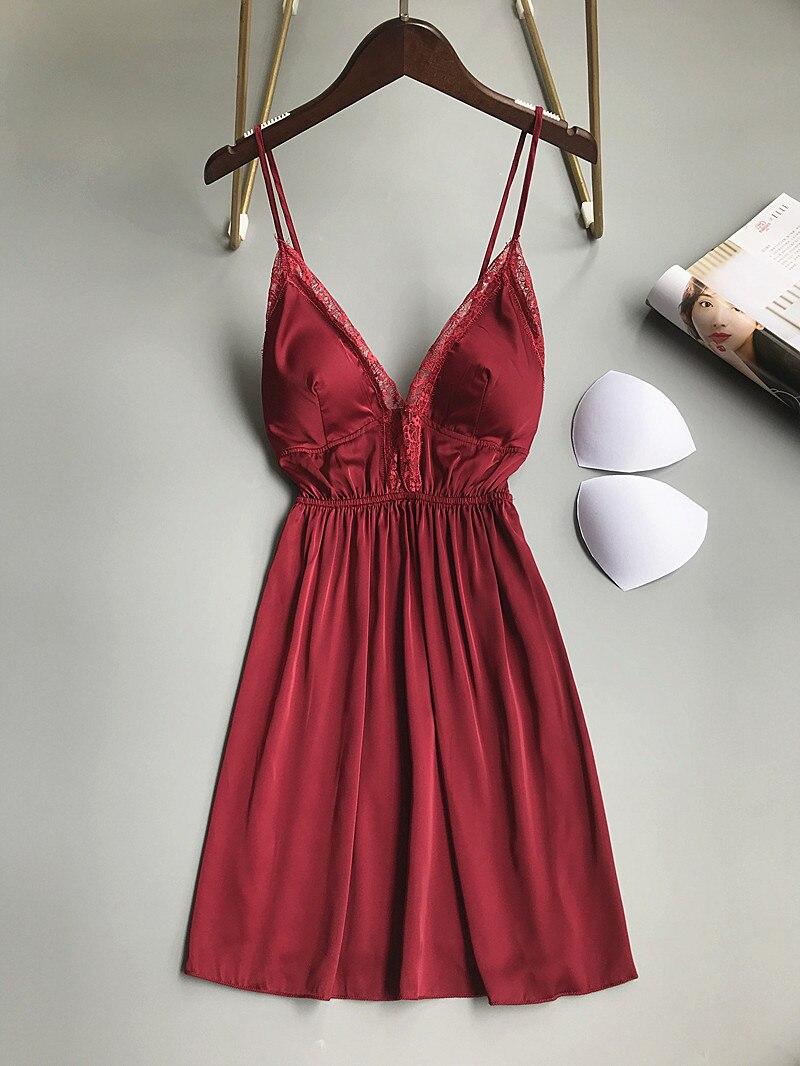 Summer Nightwear Lace Women Sleepshirts V Neck Sexy Lingerie Satin Nightdress Backless Nightgowns Sleepwear Nightshirts