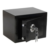Professional and Durable Strong Iron Steel Key Operated Security Money Cash Safe Box For Home Office Jewelry Black