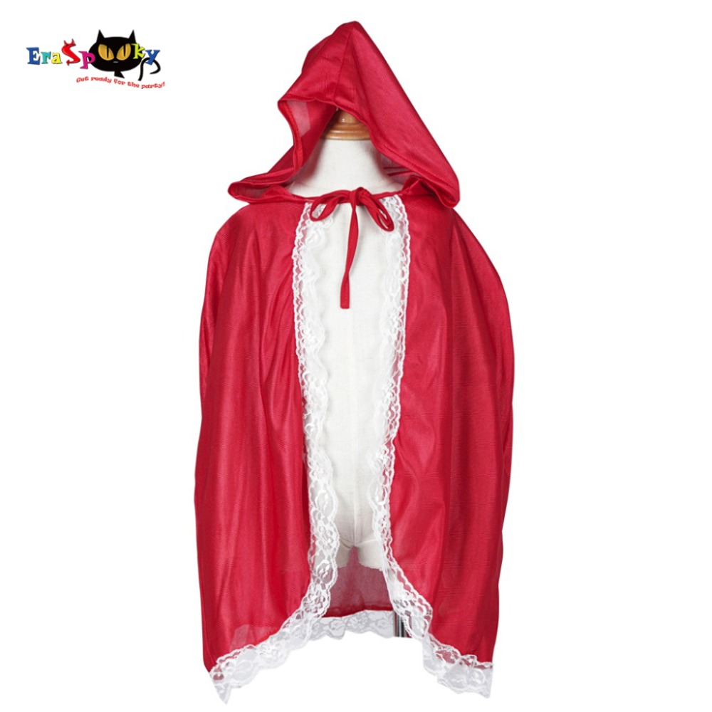 Little Red Riding Hood Costume Girls Red Cap Jubah Anak Anime Cosplay Cape Clothing for Kids with Lace Carnival Halloween