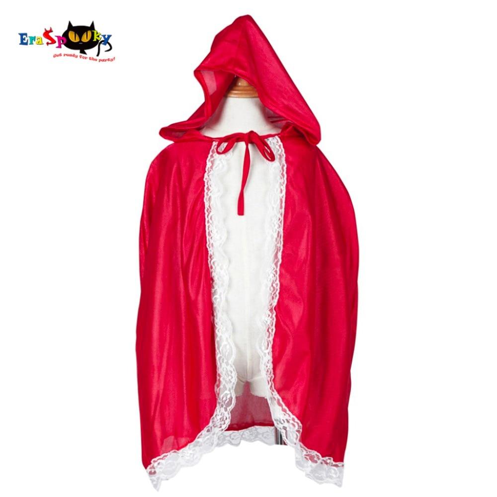 Raudonkepuraitės kostiumai Merginos Raudonojo kepurėlio apsiaustai Vaikai Anime Cosplay Cape drabužiai vaikams su nėrinių karnavalu