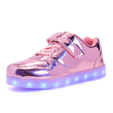 2017 spring and summer time kids low to assist LED gentle sneakers mirror USB cost college students informal sneakers