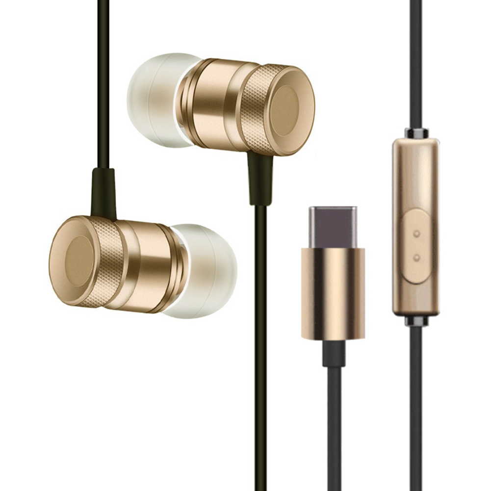 Stereo Headphones For Usb Leeco Type-c Earphone with Mic Type C Earphones for Xiaomi Huawei Smartphone(China)