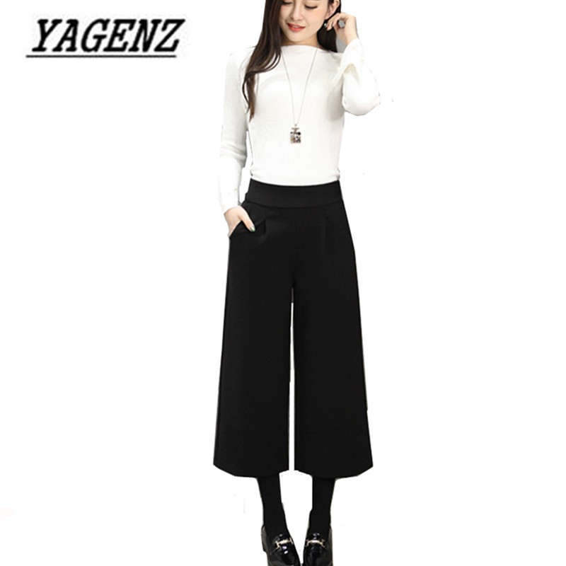 2018 New Autumn/Winter Woolen Women's   Wide     Leg     Pants   Fashion Loose high waist stretch Casual Seven Yards   Pants   Plus size 3XL