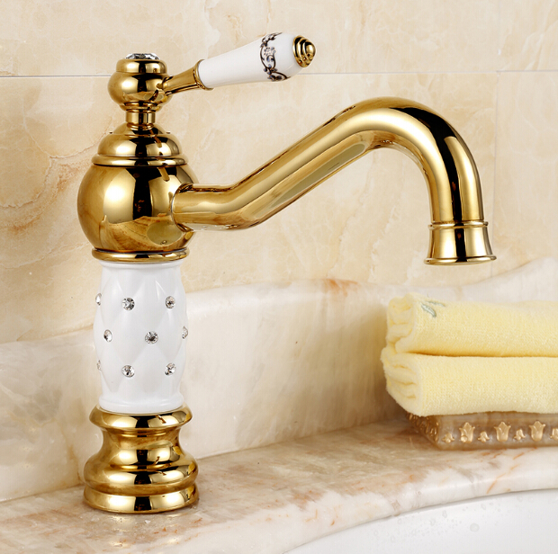 Elegant modern Luxury Gold Crystal sink faucet hot and cold water bathroom single hole basin faucet deck mounted Brass mixer tap hpb free shipping brass hot and cold water bathroom kitchen faucet mixer tap deck mounted basin sink torneira de cozinha hp4018