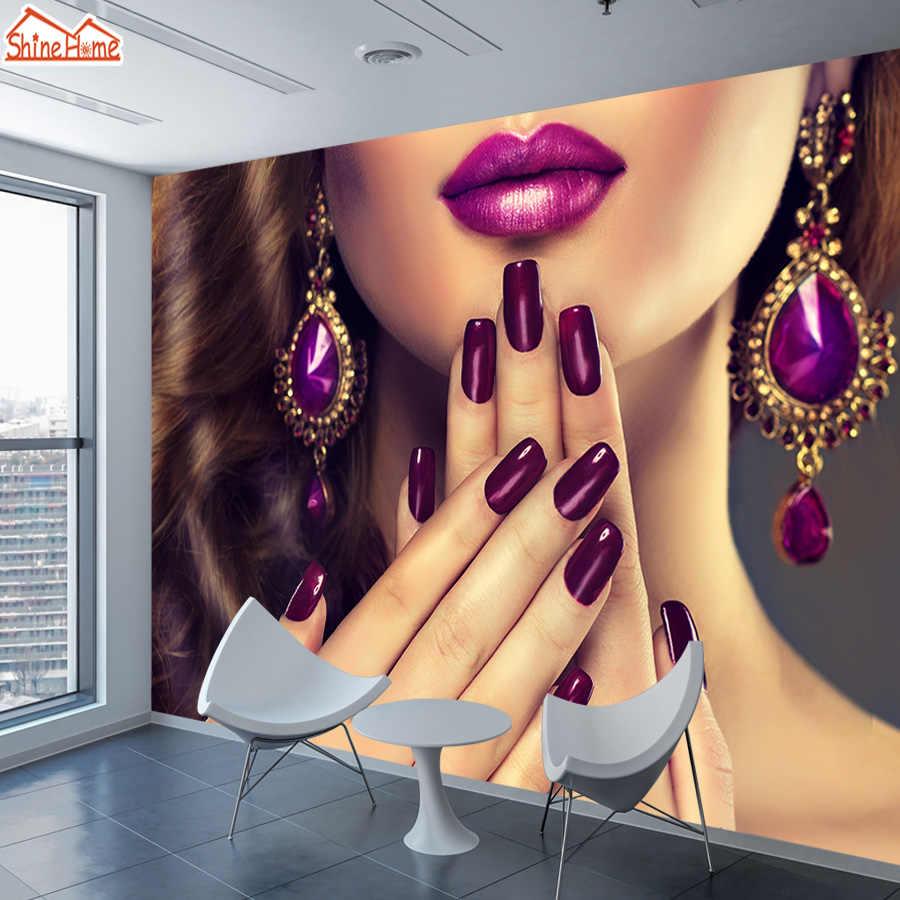 ShineHome-3d fondos para pared 3 d sala de estar 3d salón de belleza de uñas paredes de papel Mural rollos papel tapiz tienda de TV tienda de decoración