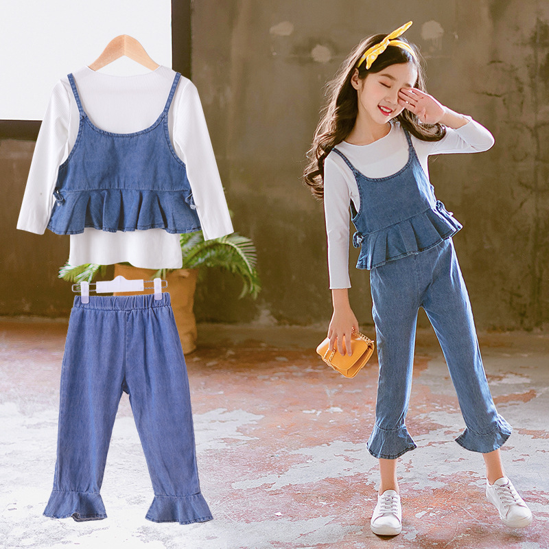 2018 Autumn Girls Clothes Set Fashion Outfit Kids Clothes Suit For Girls Clothing Sets 3 Pcs T-shirts + Denim Vest + Jeans Pants baby fashion clothing kids girls cowboy suit children girls sports denimclothes letter denim jacket t shirt pants 3pcs set 4 13