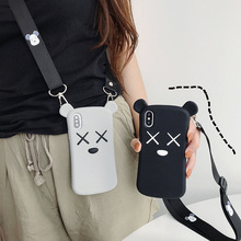 3D Cute Cartoon Bear Phone Case For iPhone 7 7plus 8 8plus 6 6s plus X XS XR MAX Soft Silicone Cover Crossbody Strap Girls