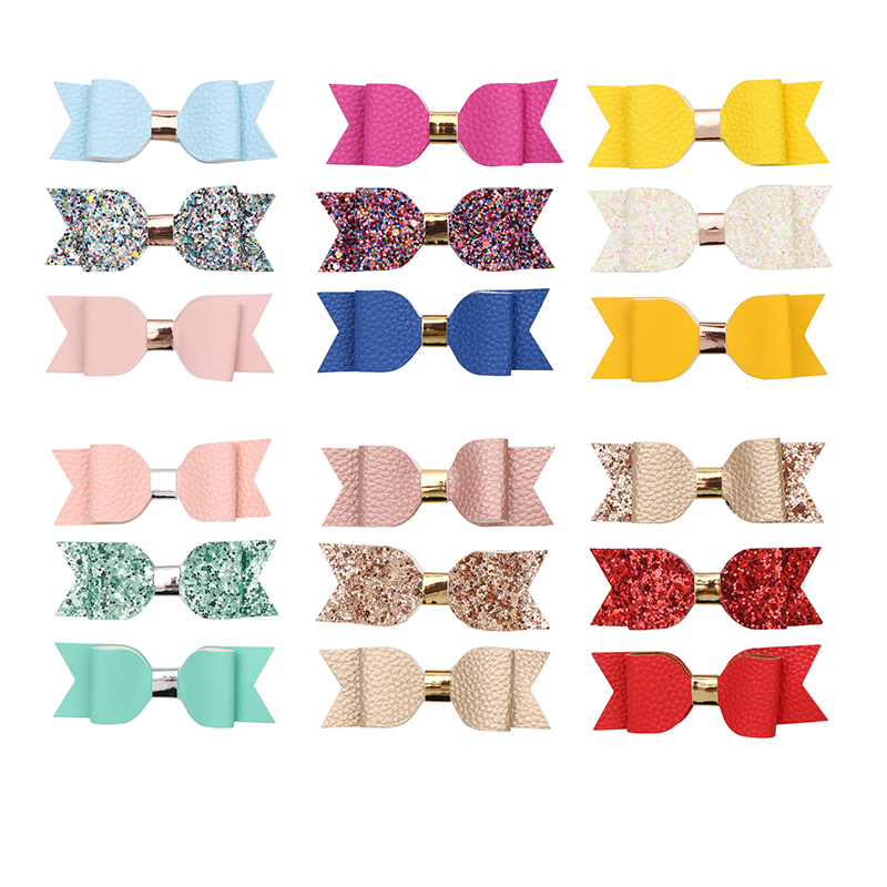 Girls hair accessories set Faux Leather bow hair clips Felt Glitter hairpins PU Leather Hairgrips Sweet barrettes for children