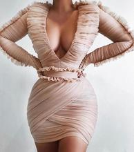 High Quality Pink Long Sleeve Mesh Cute Fashion Dress Cocktail Party Bodycon