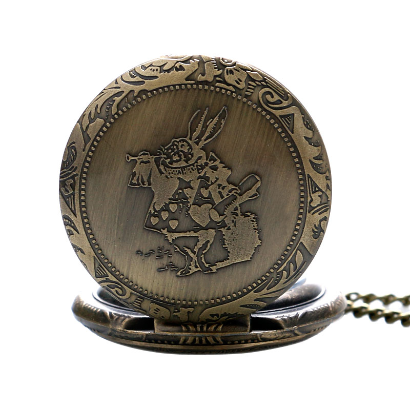 Medium Rabbit Design Bronze Quartz Pocket Watch With Chain Male Female Stainless Steel Round Shape Pendant Fob Pocket Watch