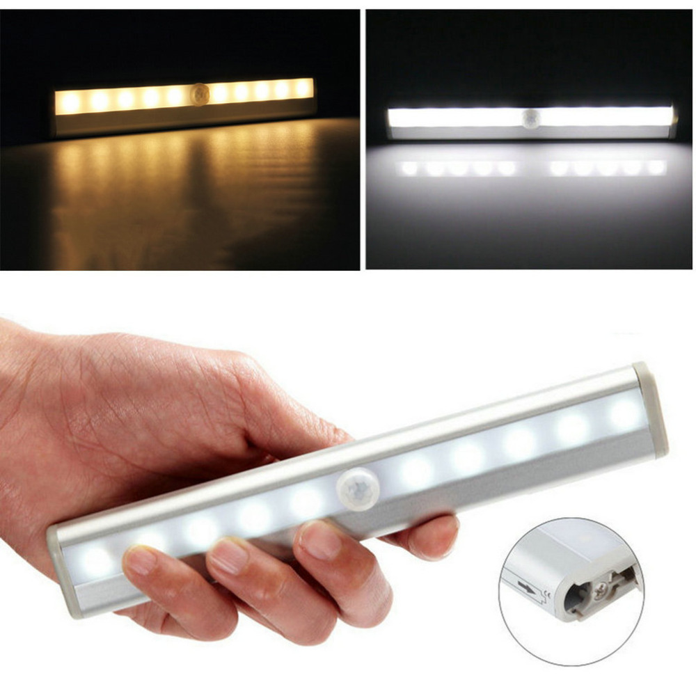 Cool White Wireless PIR Motion Sensor Lamp Super Bright 10 LED Battery Powered Cabinet Drawer Night Light